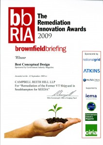 2009 Brownfiled Breifing Certificate of award  22 September